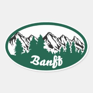 Óvalo de la montaña de Banff Pegatina Ovalada