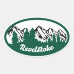 Óvalo de la montaña de Revelstoke Calcomania De Óval Personalizadas