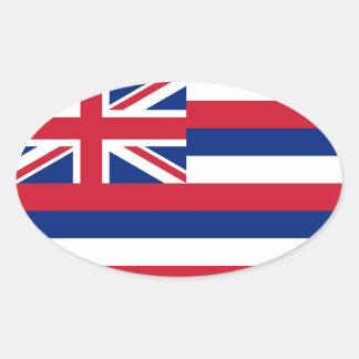Óvalo del Euro-estilo de la bandera de Hawaii* Pegatina Ovalada
