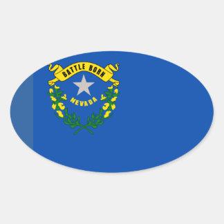 Óvalo del Euro-estilo de la bandera de Nevada* Pegatinas De Óval