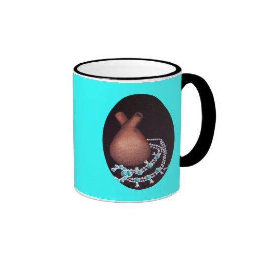 Óvalo del florero y de la turquesa del boda taza de café