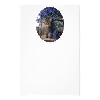 Óvalo del gato de la flor tarjetones