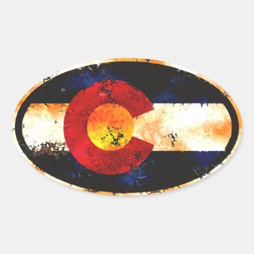 Óvalo del Grunge de Colorado Calcomanía Ovalada