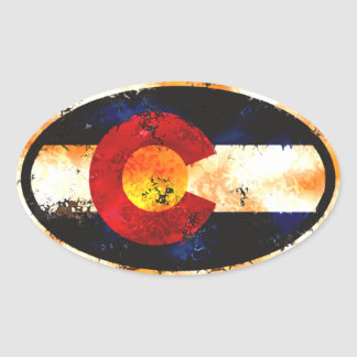 Óvalo del Grunge de Colorado Pegatina Ovalada