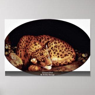 Óvalo del leopardo de Stubbs George Posters