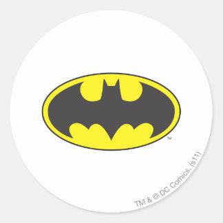 Óvalo del logotipo del palo de Batman Etiquetas Redondas