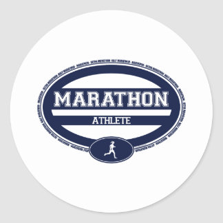 Óvalo del maratón para los atletas y los espectado pegatinas redondas