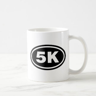 Óvalo del negro del corredor de 5 K Taza De Café