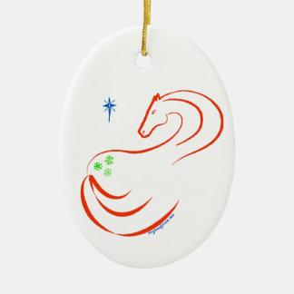 Óvalo del ornamento del navidad del caballo del ornamentos de reyes