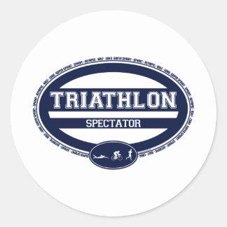 Óvalo del Triathlon Pegatinas Redondas