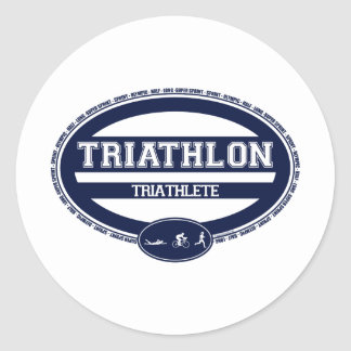 Óvalo del Triathlon Pegatina Redonda