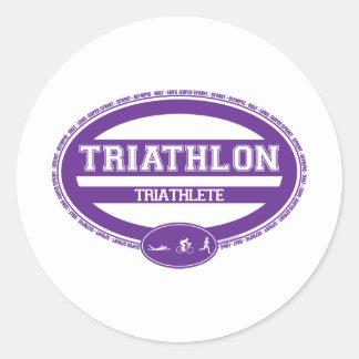 Óvalo del Triathlon Etiqueta Redonda