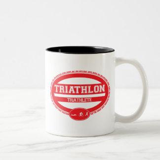 Óvalo del Triathlon Taza De Dos Tonos