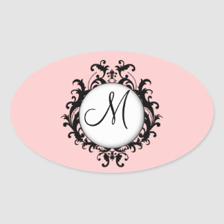 Óvalo elegante del rosa de la etiqueta del damasco