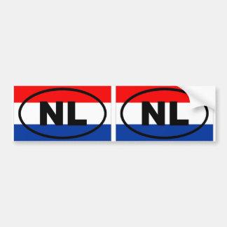 Óvalo europeo de Países Bajos NL Etiqueta De Parachoque