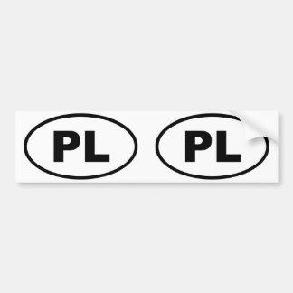 Óvalo europeo de Polonia PL Pegatina De Parachoque