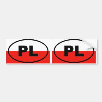 Óvalo europeo de Polonia PL Etiqueta De Parachoque