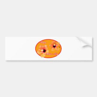 Óvalo feliz del rojo anaranjado del hibisco del dí pegatina de parachoque