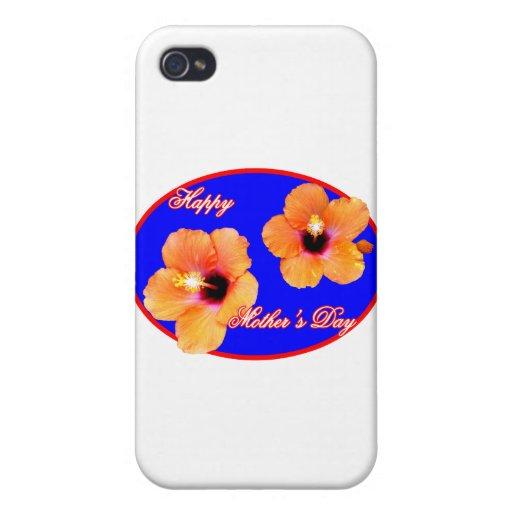 Óvalo feliz del rojo azul del hibisco del día de m iPhone 4 coberturas