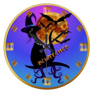 Óvalo negro Bewitching del gatito Reloj Redondo Grande