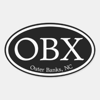Óvalo negro de OBX Outer Banks Calcomania De Óval Personalizadas