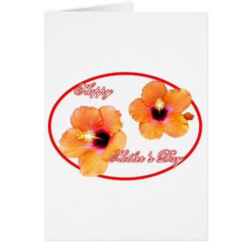 Óvalo rojo blanco de madre del hibisco feliz del d tarjeta de felicitación