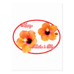 Óvalo rojo blanco de madre del hibisco feliz del postal