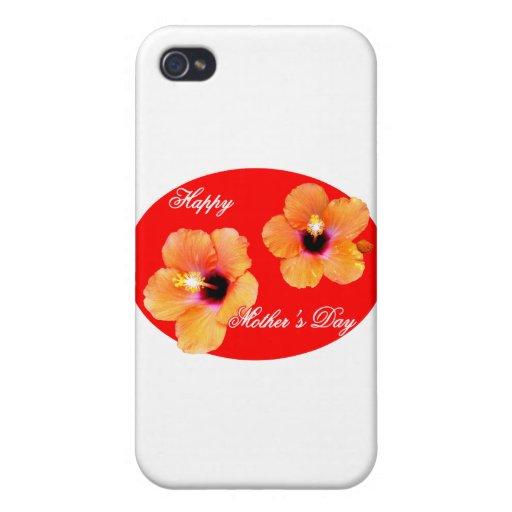 Óvalo rojo rojo de madre del hibisco feliz del día iPhone 4 cobertura