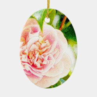 Óvalo rosado del ornamento del sueño de la camelia adornos