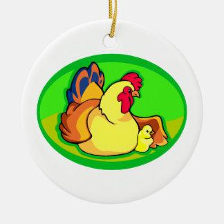 óvalo verde del pollo y del polluelo adorno redondo de cerámica