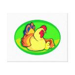 óvalo verde del pollo y del polluelo impresión en lona estirada