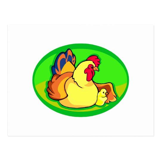 óvalo verde del pollo y del polluelo postales