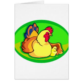 óvalo verde del pollo y del polluelo tarjeta pequeña