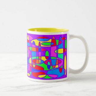 Óvalos coloridos - 11 onzas. ¡Taza! Taza De Café De Dos Colores