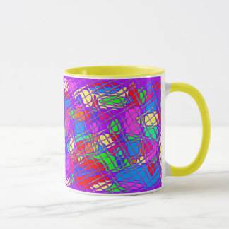 Óvalos coloridos detrás de los bloques de cristal taza