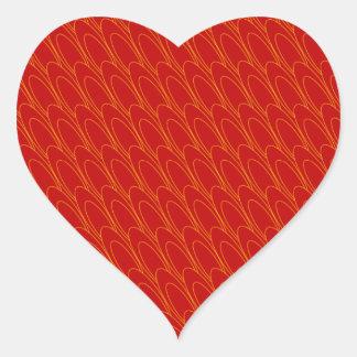 Óvalos del Los (rojos) Pegatina En Forma De Corazón