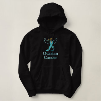 Ovarian Cancer angel embroidered Embroidered Hoodie