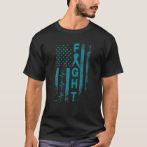 Ovarian Cancer Awareness Fight American Flag Gifts T-Shirt