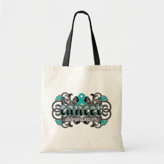 Ovarian Cancer Awareness Floral Ornamental Budget Tote Bag