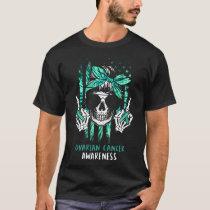 Ovarian Cancer Awareness Halloween Skull For Cance T-Shirt