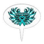 Ovarian Cancer Awareness Heart Wings Cake Topper