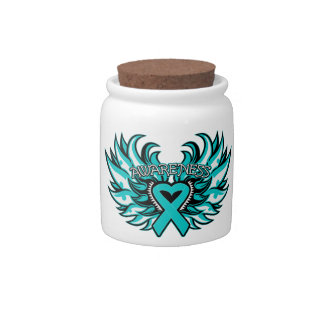 Ovarian Cancer Awareness Heart Wings Candy Dish