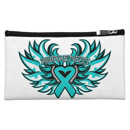 Ovarian Cancer Awareness Heart Wings Cosmetic Bags