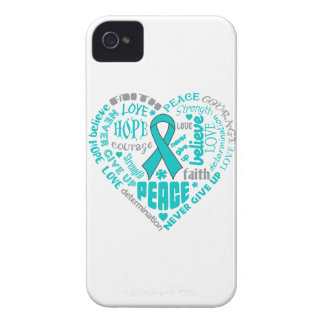 Ovarian Cancer Awareness Heart Words Case-Mate iPhone 4 Case