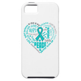 Ovarian Cancer Awareness Heart Words iPhone 5 Cases