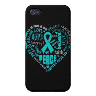 Ovarian Cancer Awareness Heart Words Case For iPhone 4