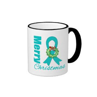 Ovarian Cancer Awareness Merry Christmas Ribbon Coffee Mug