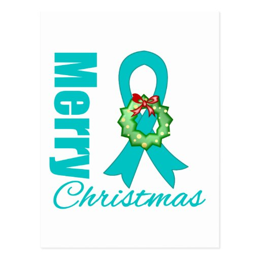 Ovarian Cancer Awareness Merry Christmas Ribbon Post Card
