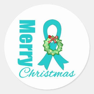 Ovarian Cancer Awareness Merry Christmas Ribbon Sticker