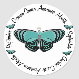 Ovarian Cancer Awareness Month Butterfly 1.3 Classic Round Sticker